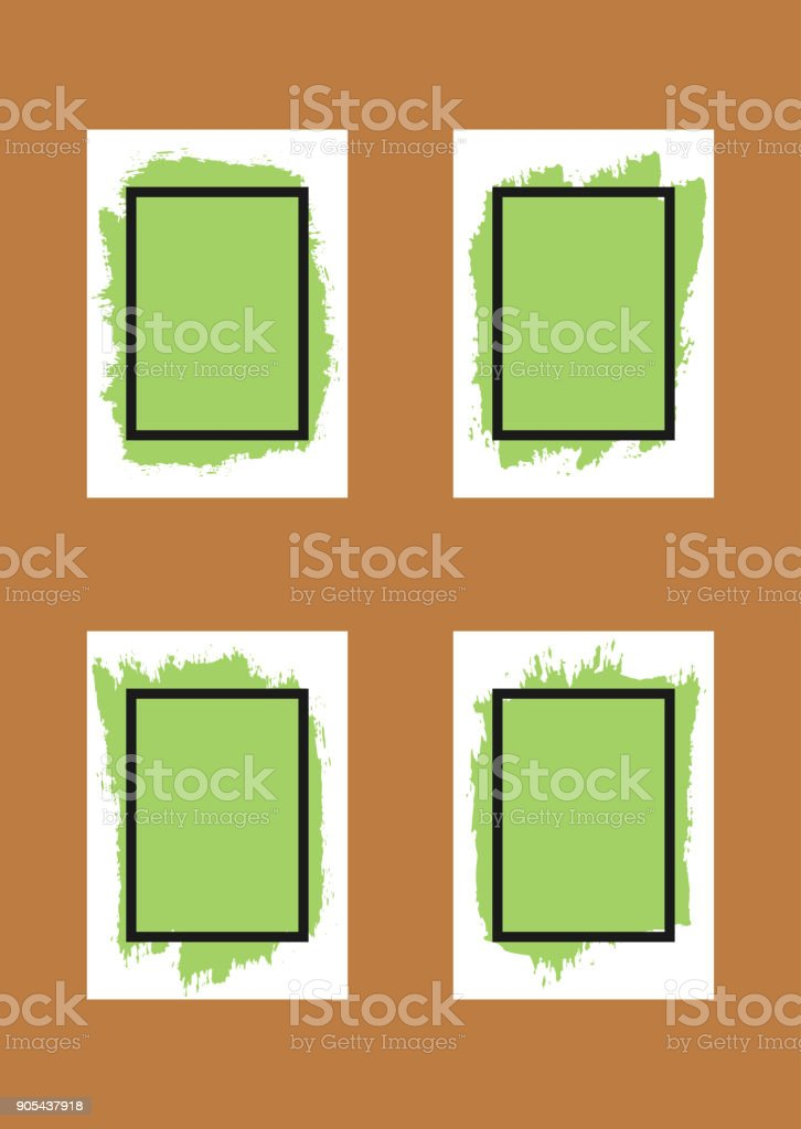 Set of grunge backgrounds for design. Sheets of paper with spray paint and frame for text. vector art illustration