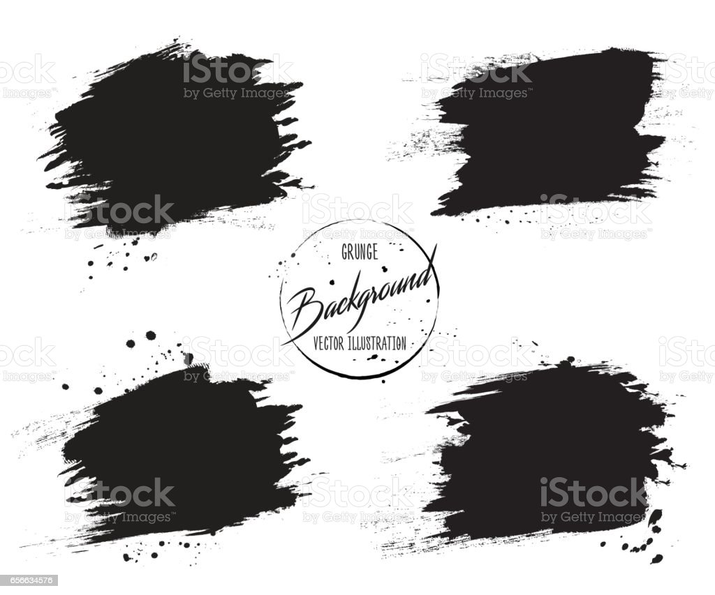 Set of grunge banners with stains, splashes and drops of ink vector art illustration