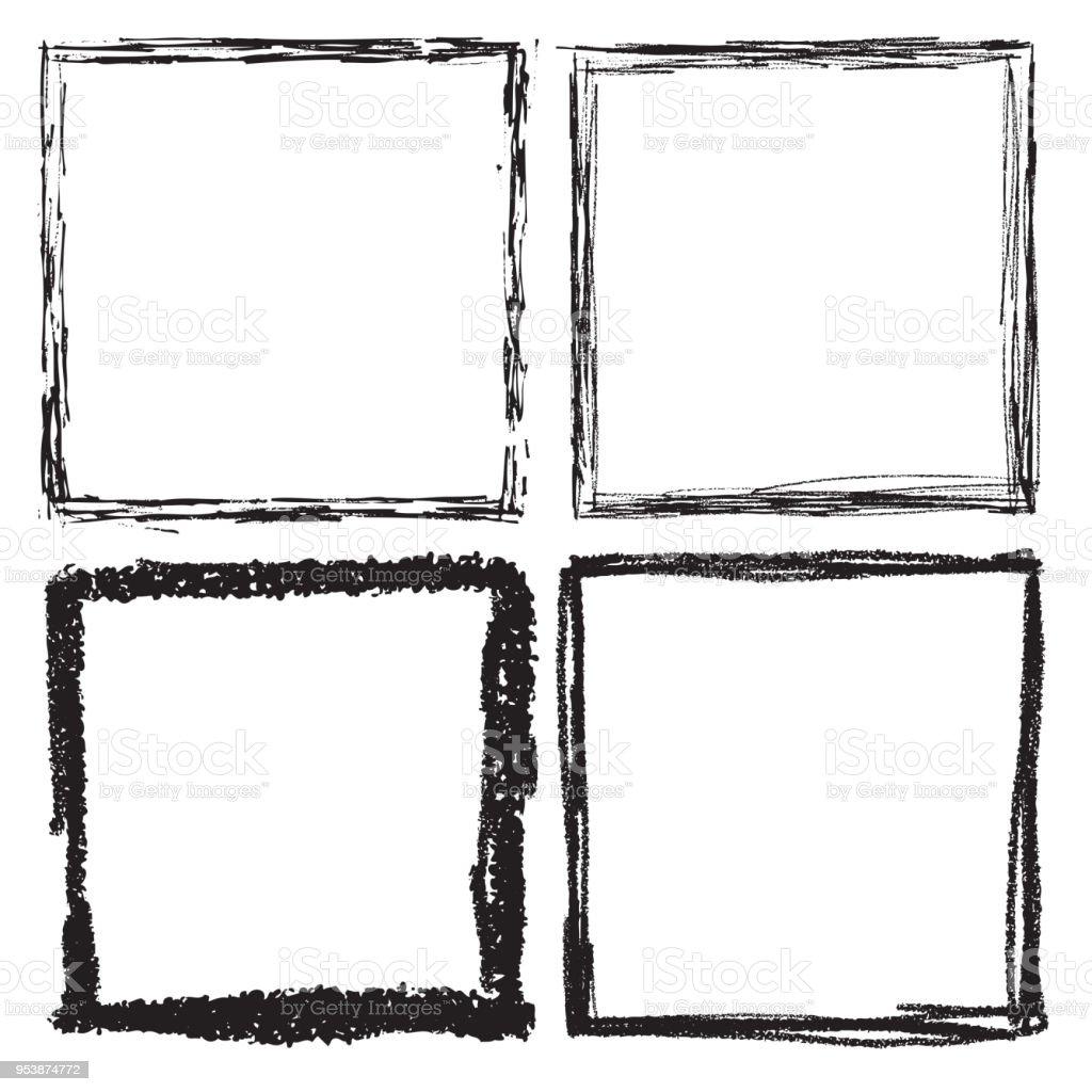 Ilustración de Conjunto De Cuadros De Blanco Y Negro Grunge ...