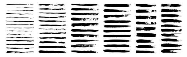 zestaw grunge czarnej farby, pociągnięcia pędzlem atramentu. kolekcja pędzli izolowana na białym tle. modne pociągnięcie pędzlem do czarnej farby atramentowej, grunge tło, brud banner, akwarela i brudna tekstura. - linia stock illustrations
