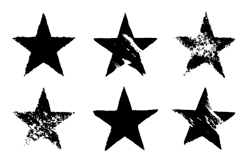 Vector grunge set of six different black star imprints isolated on white background. Hand drawn elements.