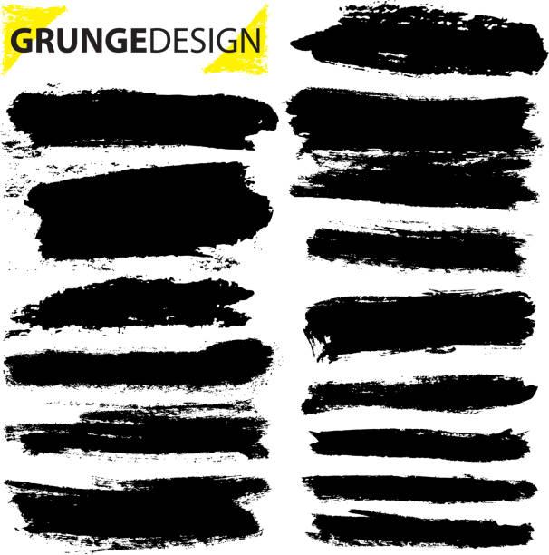 Set of grunge brush strokes vector art illustration