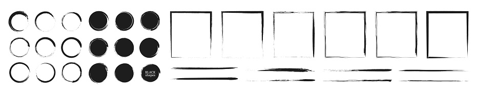 Set of grunge design elements. Black paint, brush strokes, circles, lines and frames.