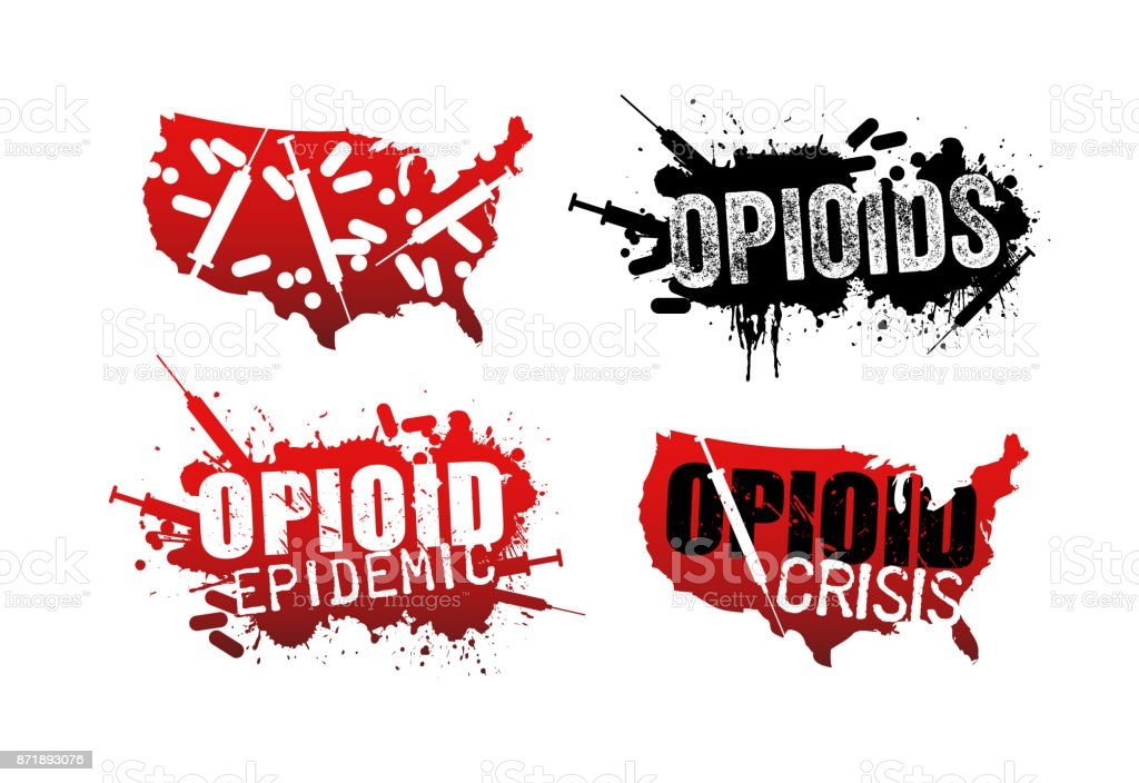 Set of grunge designs with text about the opioid crisis or epidemic in the United States. vector art illustration