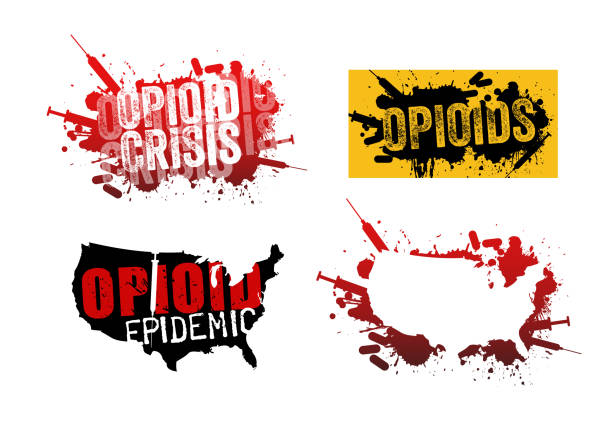 Set of grunge designs with text about the opioid crisis or epidemic in the United States. Set of grunge designs with text about the opioid crisis or epidemic in the United States. addict stock illustrations