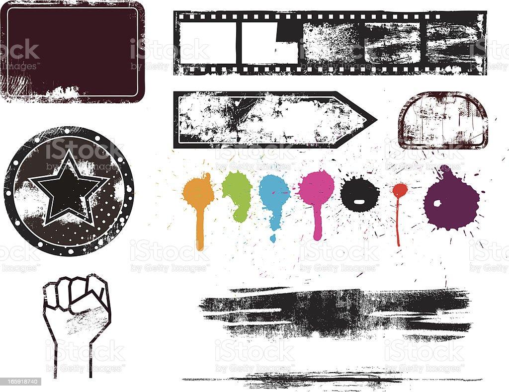 Set of Grunge Elements royalty-free stock vector art