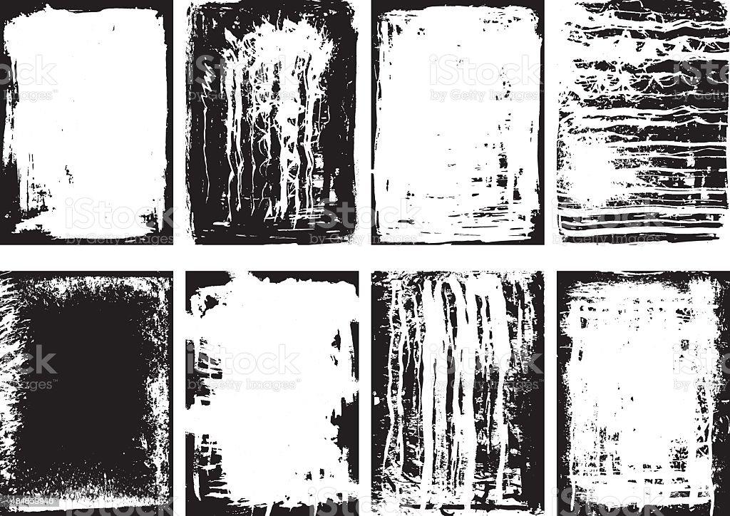 Set of grunge frames and background vector art illustration