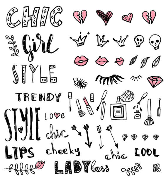 ilustrações de stock, clip art, desenhos animados e ícones de a set of grunge hand draw doodles and words about fashion. vector illustrations - boca suja