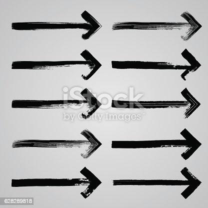 629255068istockphoto Set of grunge hand drawn brushstrokes arrows  on white backgroun 628289818