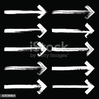 629255068istockphoto Set of grunge hand drawn brushstrokes arrows  on white backgroun 628289904