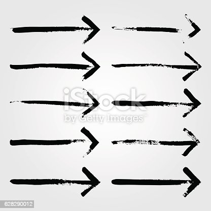629255068 istock photo Set of grunge hand drawn brushstrokes arrows on white background 628290012