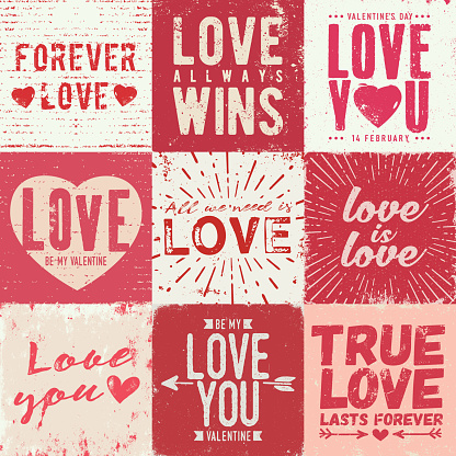Set of grunge love and romance greeting cards