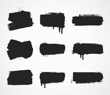 Set of grunge paint stroke images