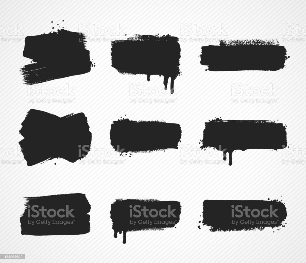 Set of grunge paint stroke images vector art illustration
