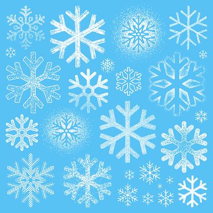 Set of grunge snowflakes