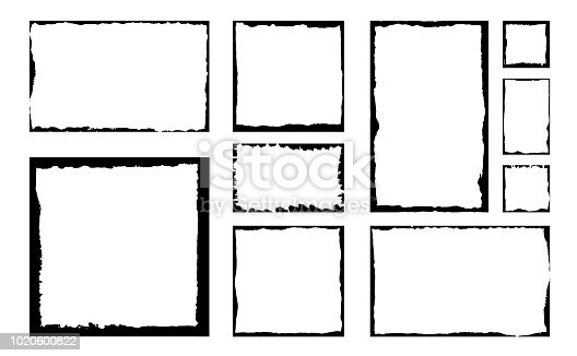 Set of grunge square frames. Empty border background. Hand draws black and white ink. Distress damaged edge vintage template.