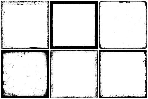 Set of grunge square frames