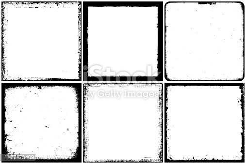 Set of 6 grunge and ink dirty square frames.