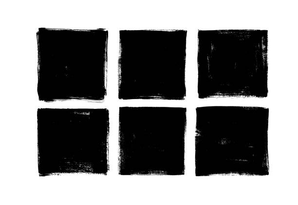 Set of grunge square template backgrounds. Vector black painted squares or rectangular shapes. Set of grunge square template backgrounds. Vector black painted squares or rectangular shapes. Hand drawn brush strokes isolated on white. Dirty grunge design frames, borders or templates for text. square shape stock illustrations