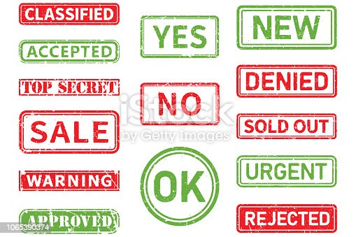 Classified, accepted, top secret, sale,warning,approved,yes, no, ok, new,denied,sold out,urgent,rejected vector stamp shapes