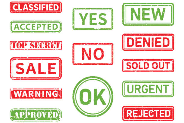 Set of grunge stamp shapes on white background. Scratched, old and vintage Classified, accepted, top secret, sale,warning,approved,yes, no, ok, new,denied,sold out,urgent,rejected vector stamp shapes rejection stock illustrations