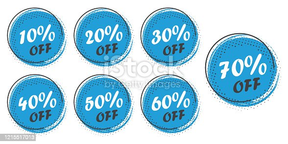 istock Set of grunge sticker with 10, 20, 30, 40, 50, 60, 70 percent off in a flat design with halftone. For sale, promotion, advertising 1215517013