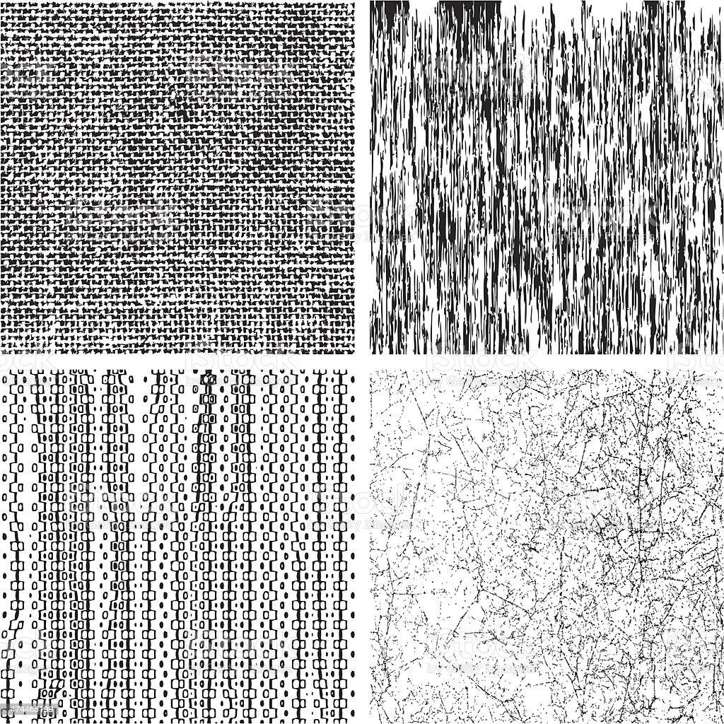 Set of grunge textures vector art illustration