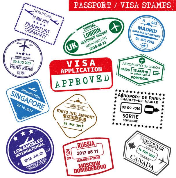 ilustraciones, imágenes clip art, dibujos animados e iconos de stock de conjunto de sello grunge visa y pasaporte - viaje a reino unido