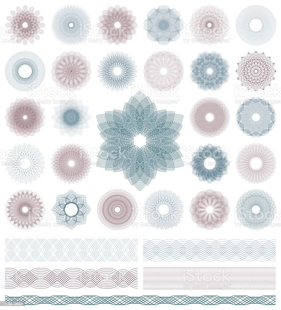 Set of Guilloche decorative elements. Vector illustration. vector art illustration