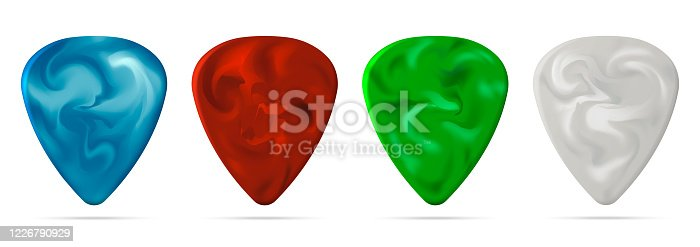 istock Set of guitar pick isolated on white background. Vector illustration. 1226790929