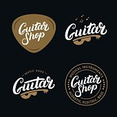 Set of guitar shop hand written lettering emblems, badges.