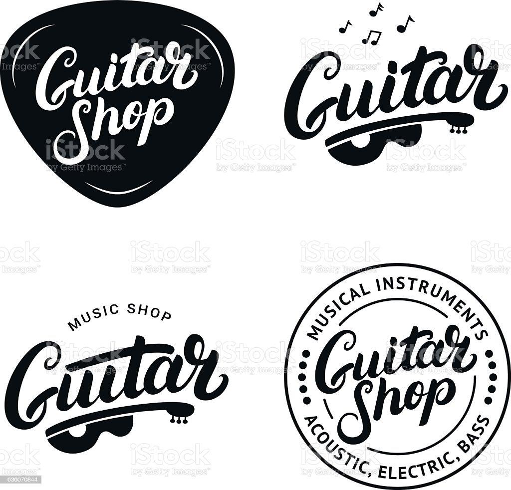 Set Of Guitar Shop Hand Written Lettering Logos Emblems Badges Royalty Free
