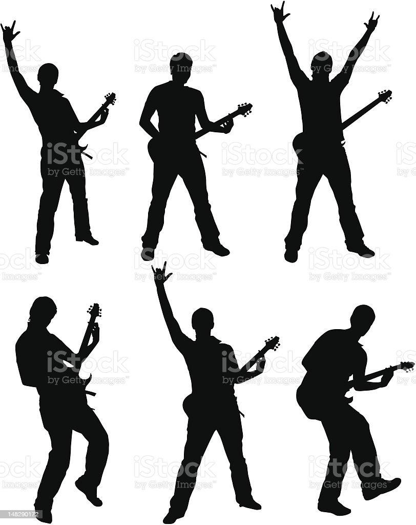 Set of Guitarist Silhouette vector art illustration