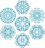 Set Of Gzhel Round Patterns