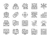 Set of hacking and cyber security line icons. Hacker attack, spy agent, trojan horse, computer virus and more.