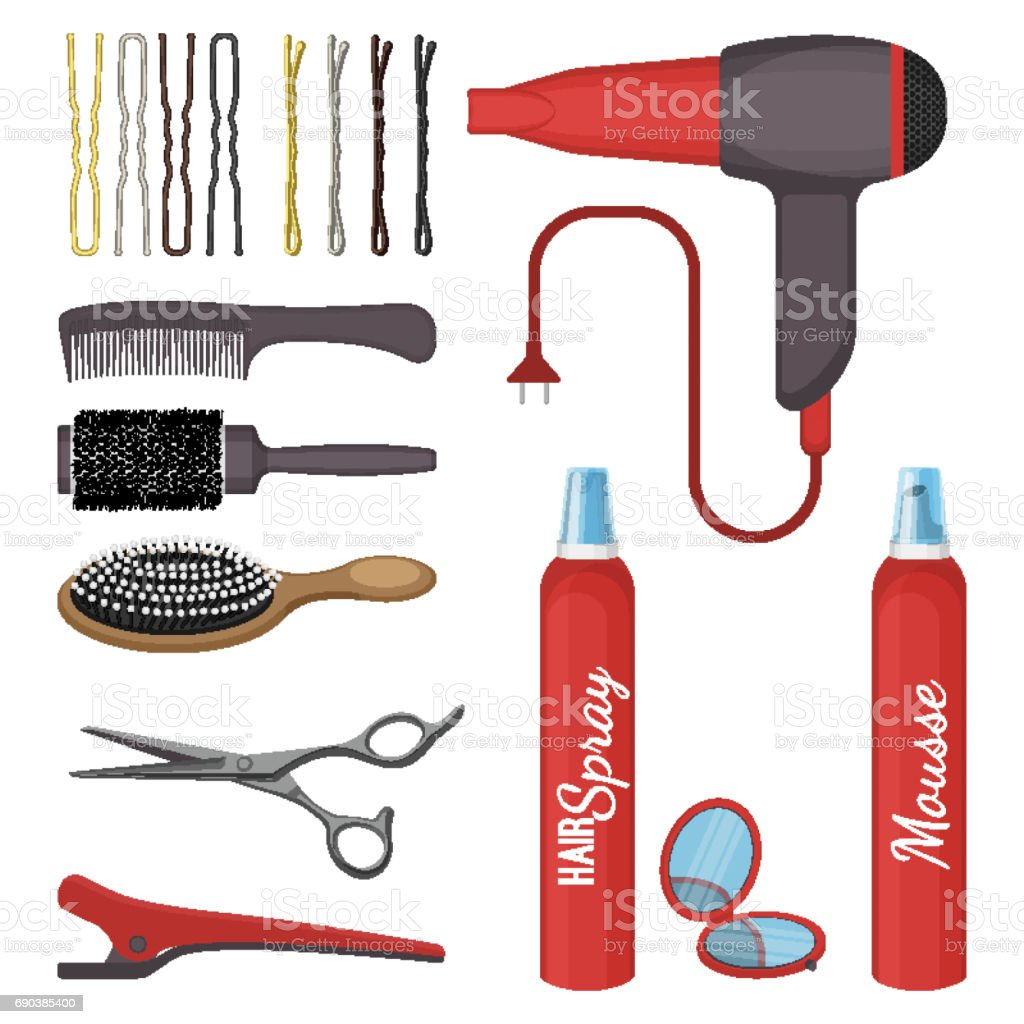 Set of hairdressing tools vector illustration isolated on white background. vector art illustration