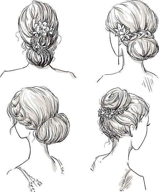 set of hairstyles. bridal hairdo. hand drawn. - prom fashion stock illustrations, clip art, cartoons, & icons
