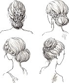 set of hairstyles. Bridal hairdo. Hand drawn.