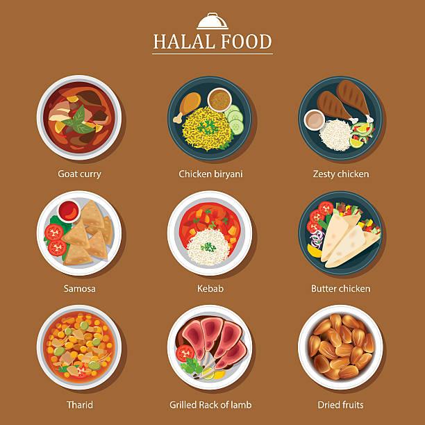 ilustraciones, imágenes clip art, dibujos animados e iconos de stock de conjunto de comida halal diseño plano - comida india