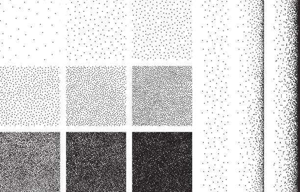 illustrazioni stock, clip art, cartoni animati e icone di tendenza di set of half tone dot background, seamless pattern - puntinismo