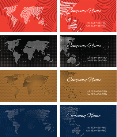 Set of halftone bussines cards with continents
