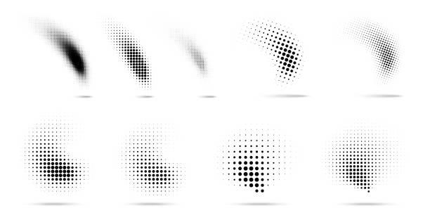 illustrazioni stock, clip art, cartoni animati e icone di tendenza di set of halftone dots curved gradient pattern texture isolated on white background. curve dotted spots using halftone circle dot raster texture collection. vector blot half tone collection. - gradazione mezzo tono