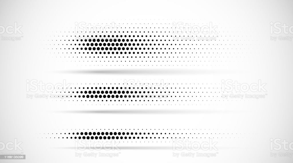 Set of halftone dots gradient pattern texture isolated on white background. Straight dotted spots using halftone circle dot raster texture. Vector blot half tone collection. Divider lines. - Royalty-free Abstrato arte vetorial