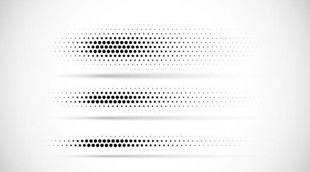 Set of halftone dots gradient pattern texture isolated on white background. Straight dotted spots using halftone circle dot raster texture. Vector blot half tone collection. Divider lines. Set of halftone dots gradient pattern texture isolated on white background. Straight dotted spots using halftone circle dot raster texture. Vector blot half tone collection. Divider lines. in a row stock illustrations