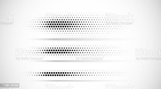 Set Of Halftone Dots Gradient Pattern Texture Isolated On White Background Straight Dotted Spots Using Halftone Circle Dot Raster Texture Vector Blot Half Tone Collection Divider Lines - Arte vetorial de stock e mais imagens de Abstrato