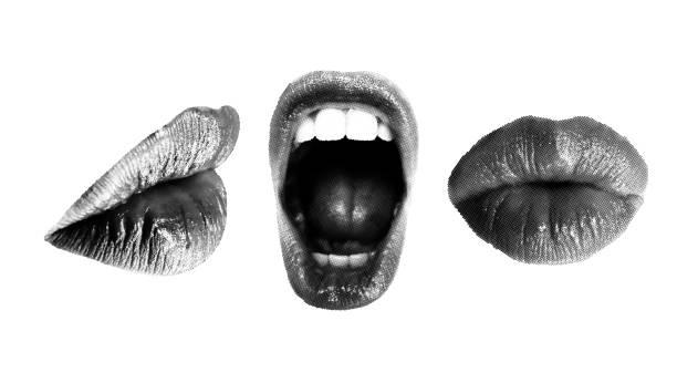 Satz von Halbton weibliche Münder in verschiedenen Posen – Vektorgrafik