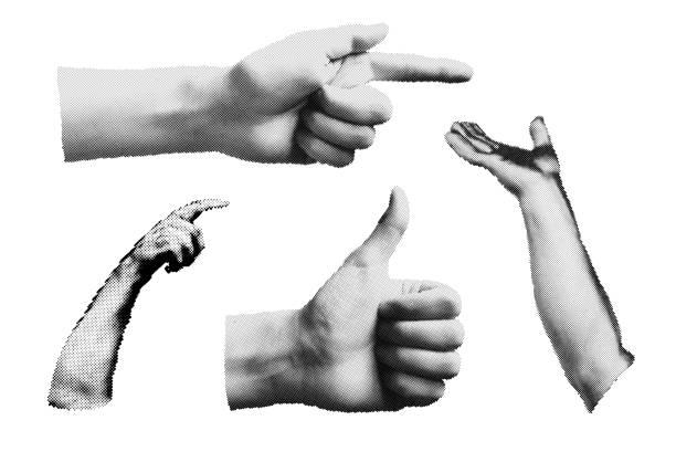 Set von Halbton menschliche Hände in verschiedenen Posen – Vektorgrafik