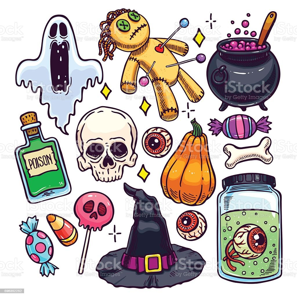 Set of Halloween attributes Lizenzfreies set of halloween attributes stock vektor art und mehr bilder von altertümlich