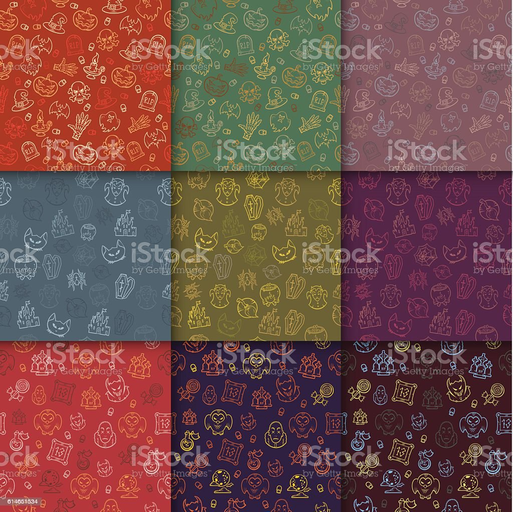 Set Of Halloween Backgrounds Collection Of Seamless Patterns Stock ...