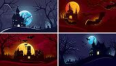 Set of Halloween backgrounds. Castles under moonlight.